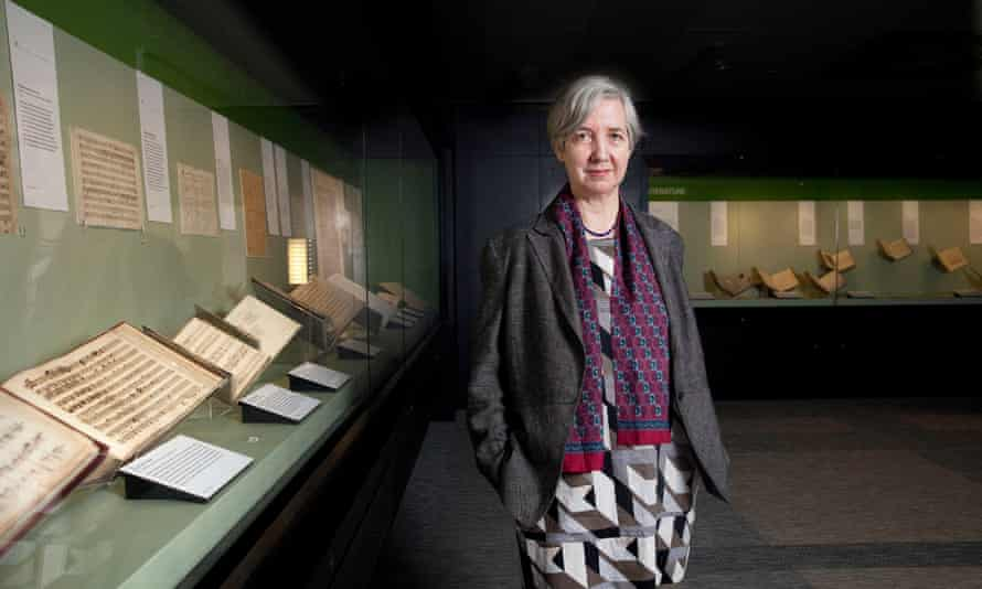 Susan Brewster, composer, photographed at the British Library, London.