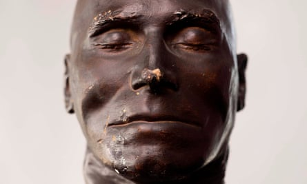 The death mask of Daniel Good, a 19th-century murderer who was hunted for weeks by nine divisions of the Metropolitan police. It is one of the never-before-seen objects from the Black Museum at the Crime Museum Uncovered exhibition at the Museum of London.