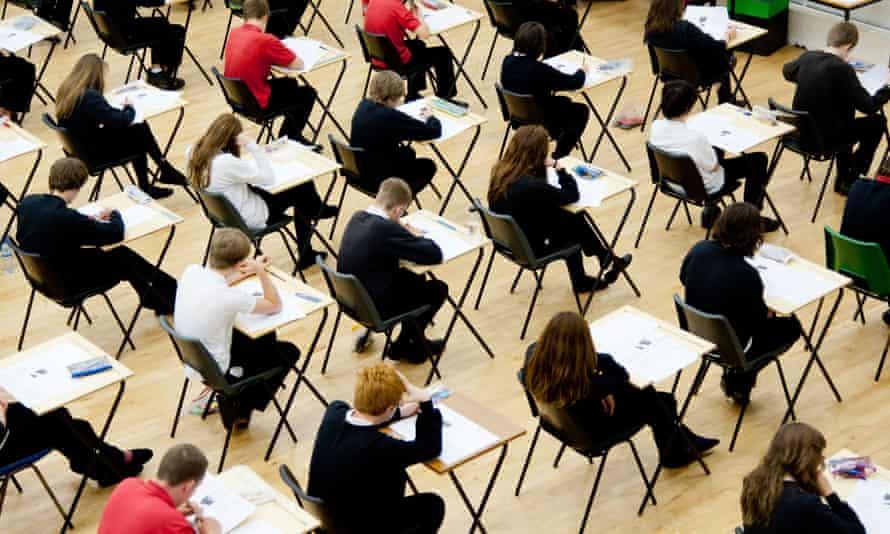 school pupils sitting an exam