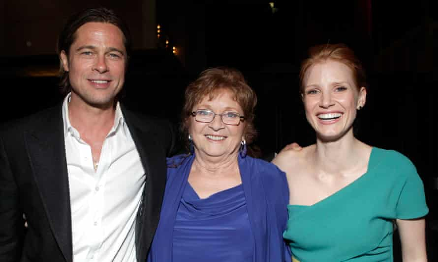 Chastain with Brad Pitt and her grandmother