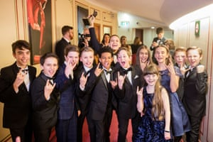 Some of the cast members of School of Rock the Musical celebrate their Olivier award