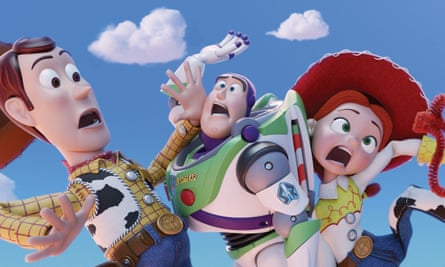 characters from the new Toy Story film, featuring (left to right) Woody, Jessie, Buzz Lightyear and Forky