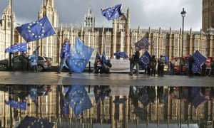 Remain EU protesters outside Houses of Parliament