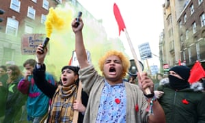 Students and supporters protest in London against the abolition of maintenance grants