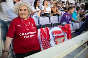 One of the Arsenal fans at Stadio Artemio Franchi.