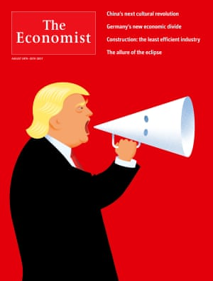 "Jon Berkeley for The Economist""This cover arose from Trump's press conference in which he ducked condemning the far right. I start the process with a pencil, doodle as many items as I can that relate to the subject - in this case swastikas, KKK hoods, placards, statues, flaming torches. I try to spot a connection - to combine them in some way that's visually arresting and also magnifies the theme of the image. I was thinking that Trump had dispensed with the dog whistle and picked up a bullhorn, which immediately clicked with the shape of the KKK hood."""