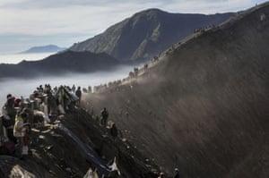 Worshippers gather at Mount Bromo
