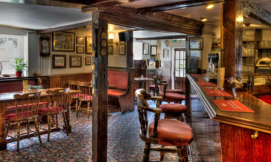 Interior of the Running Horse pub, Running Horse, Surrey Hills, UK.
