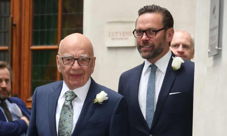Rupert Murdoch with his son James, the CEO of 21st Century Fox.
