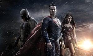 Ben Affleck (Batman), Henry Cavill (Superman) and Gal Gadot (Wonder Woman) in Batman v Superman: Dawn of Justice.
