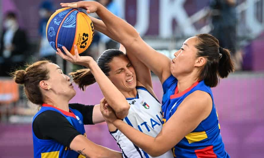 Italy face Mongolia in a 3x3 basketball match at the Aomi Urban Sports Park