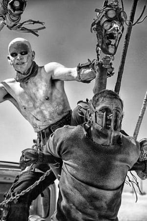 A still from the 'Black & Chrome edition' of Mad Max: Fury Road