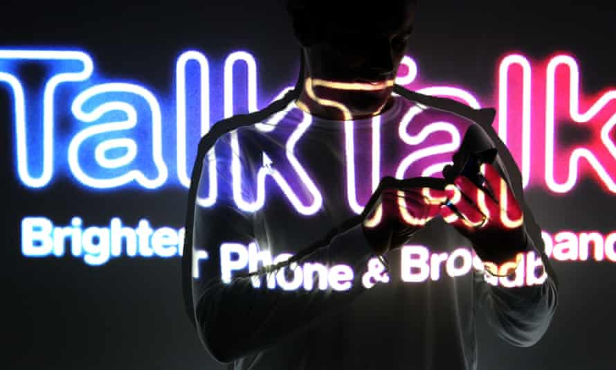 TalkTalk logo with a person using a phone in front of it