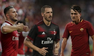 Arsenal's Sead Kolasinac, left, joined from Schalke on a free; Leonardo Bonucci left Juventus for rivals Milan and Roma signed the Turkish wonderkid Cengiz Under. Photographs by Getty Images and Rex Shutterstock. Composite Jim Powell