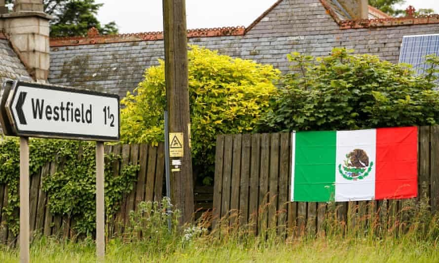 A Mexican flag on display 100m from the entrance to Trump International Golf Course in Aberdeen.