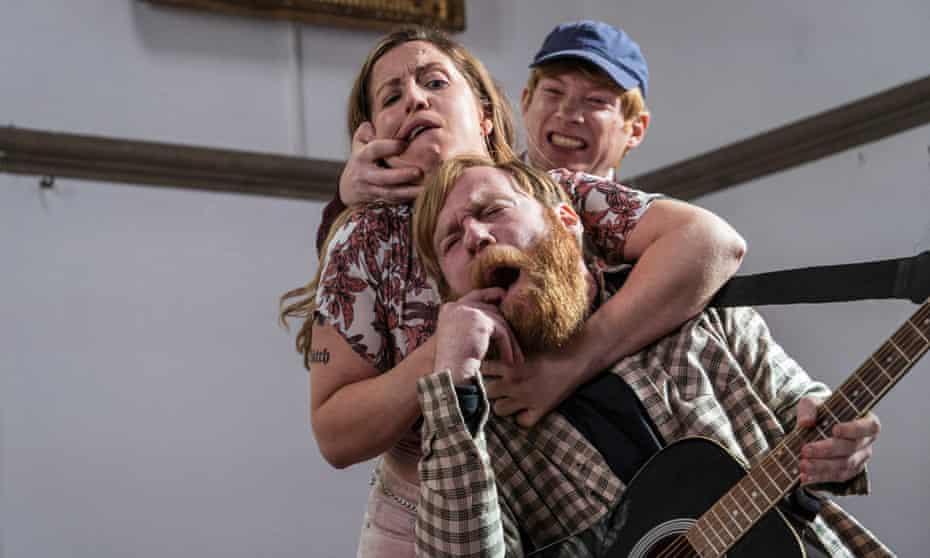 Nicola (Liz Fitzgibbon), Frank (Brian Gleeson) and Doofus (Domhnall Gleeson) in Frank of Ireland.