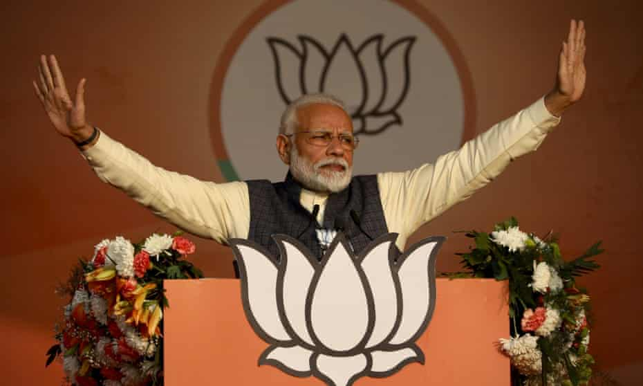 India's Narendra Modi addressing the BJP campaign rally ahead of Delhi state elections in New Delhi earlier this year.
