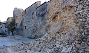 Debris in Norcia after a wall collapsed following the strong earthquake that hit central Italy on Sunday.