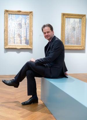 Max Hollein sits in the Claude Monet exhibition at Städel museum in Frankfurt.