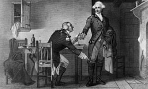 Benedict Arnold persuades Major Andre to conceal papers, to be sent to the British to enable them to capture West Point, in his boot.