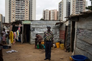 People who were moved so new housing would be built and now live in a shanty town nearby