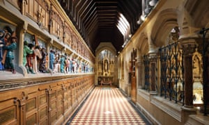 The rood screen with the stations of the cross, at Pugin's Church and Shrine of St Augustine's, in Ramsgate, on the Isle of Thanet, Kent, UK