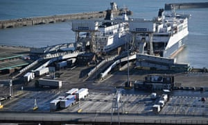 Freight trucks and HGVs boarding at the Port of Dover last month