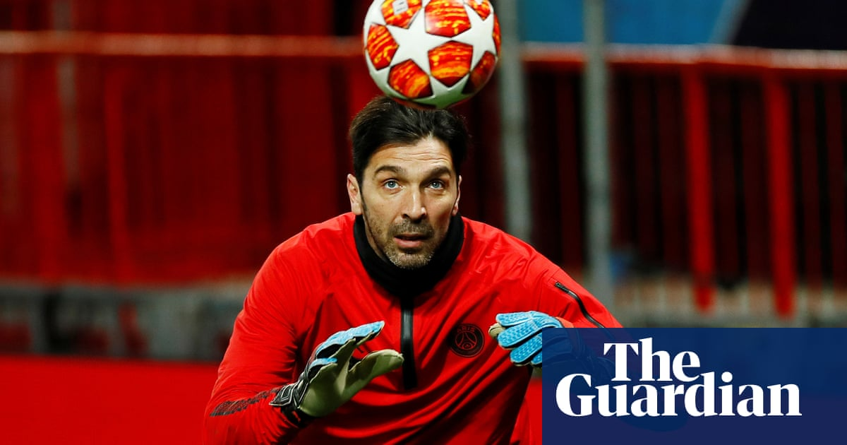e95cdb5bcdc PSG s Gianluigi Buffon takes turn to try to fill the only gap on his ...