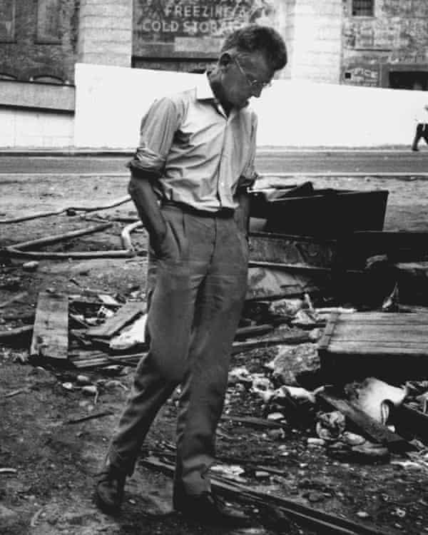 Samuel Beckett in New York in 1964, on the set of Film, his short film starring Buster Keaton.