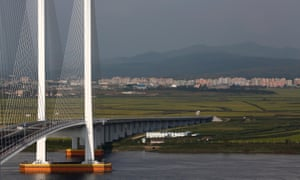 The unfinished New Yalu River bridge that was designed to connect China's Dandong and and North Korea's Sinuiju.