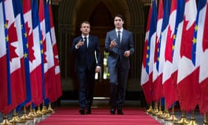 Emmanuel Macron attends at a joint press conference with Justin Trudeau in Ottawa, Canada, on Thursday.
