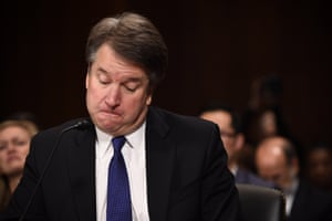 Kavanaugh frowns during the hearing
