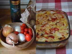 Rachel Roddy's potato, onion an tomato gratin. The key to a gratin is contrast: moisture, softness and a crisp crust.