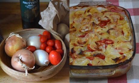 Rachel Roddy's recipe for potato, onion and tomato gratin