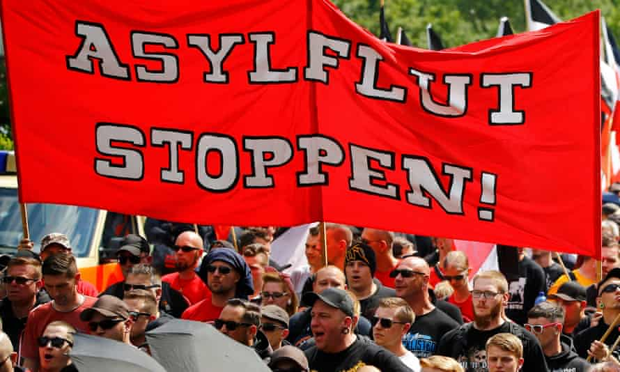 A far-right protest in Dortmund this month. There are growing concerns about integration and security