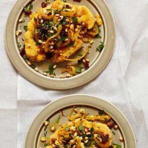 Thomasina Miers' roast cauliflower and potato in a saffron escabeche.