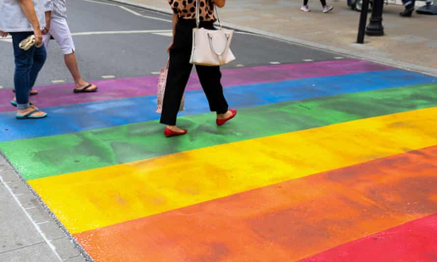 A rainbow-coloured crossing painted in Twickenham, London, to mark Pride in July.