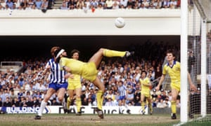Foster clears off the line in the 1983 semi-final against Sheffield Wednesday. Brighton won 2-1 at Highbury.