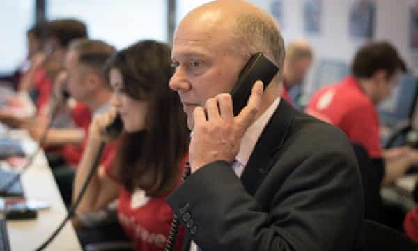 Chris Grayling on the phone to voters at the launch of the Vote Leave campaign.