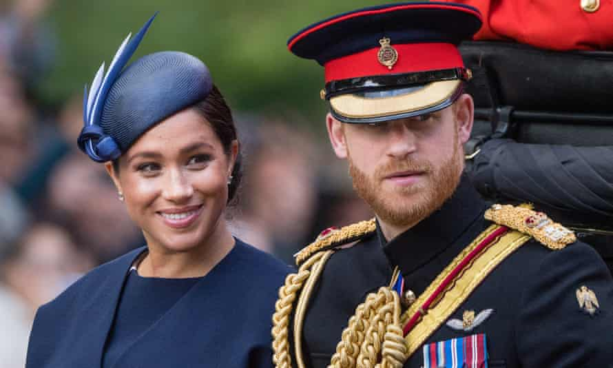 The Duke and Duchess of Sussex in the Mall during trooping the colour.