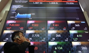 Screens at the Jakarta Stock Exchange today, where energy-linked firms fell sharply.