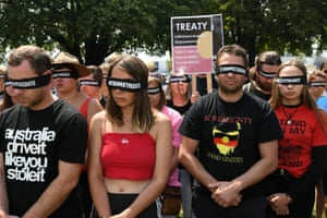 People protest changing the date of Australia Day in Hobart