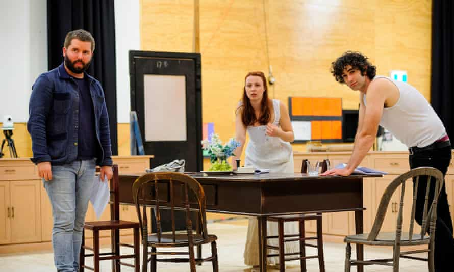 Actors Mark Leonard Winter and Robin McLeavy in discussion with director Kip Williams, in rehearsals for Melbourne Theatre Company's Miss Julie