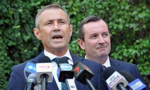 Western Australian health minister Roger Cook (left) and premier Mark McGowan