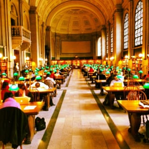 The grand and very well used Boston City Library reading rooms