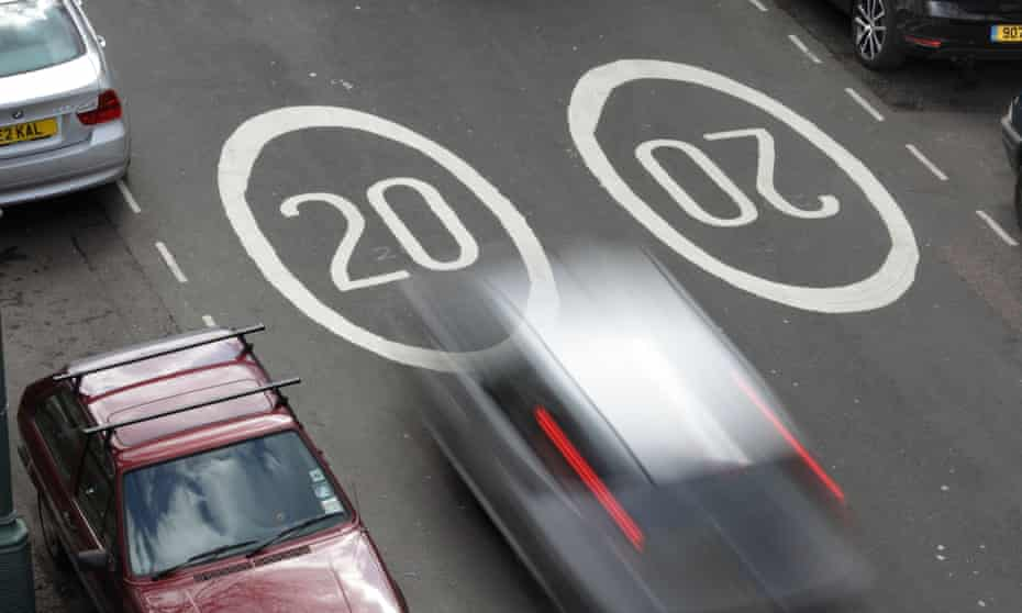 A 20mph speed limit in the UK. Research has shown reducing speed limits from 30mph to 20mph reduce driving speeds by approximately 1mph.