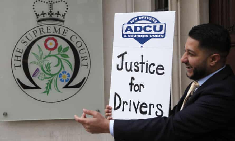 Yaseen Aslam, president of the App Drivers and Couriers Union, outside the Supreme Court in London