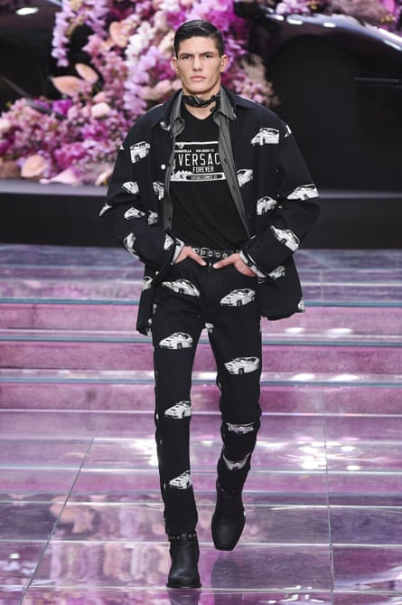 Models wore double denim emblazoned with car prints.