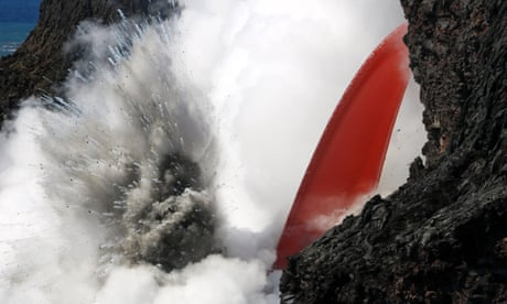 'Firehose' lava stream exploding into ocean in Hawaii