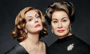 Sarandon as Bette Davis and Jessica Lange as Joan Crawford in Feud: Bette and Joan.